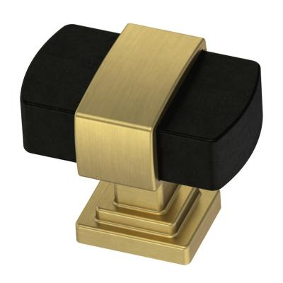 Wrapped Square 1-3/16 in. (30mm) Brushed Brass and Matte Black Cabinet Knob