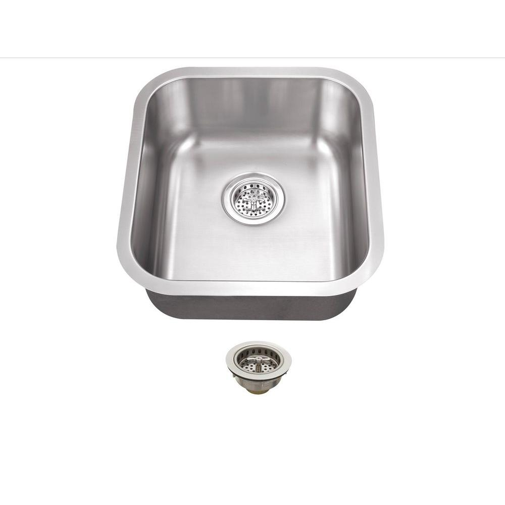 Schon All In One Undermount Stainless Steel 16 In. 0 Hole Single Bowl Kitchen  Sink SCSBMB18   The Home Depot