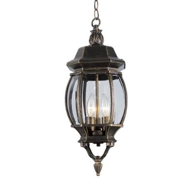 Parsons 3-Light Black Gold Outdoor Hanging Lantern Pendant Light with Clear Beveled Glass