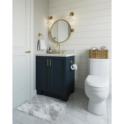 Taylor 31 in. W x 22 in. D Bath Vanity in Midnight Blue with Quartz Vanity Top in White with White Basin