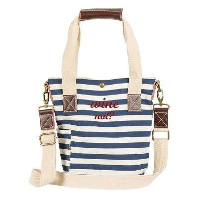 Wine Not Navy Stripe Canvas Wine Tote