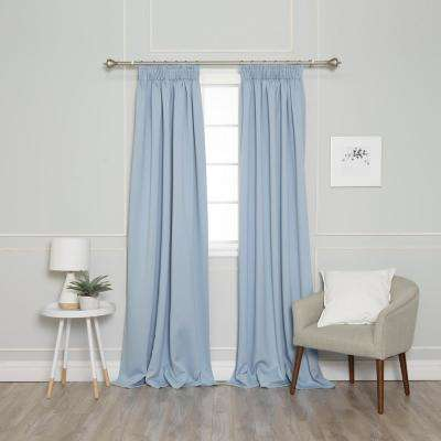 84 in. L Pencil Pleat Blackout Curtains in Sky Blue (2-Pack)