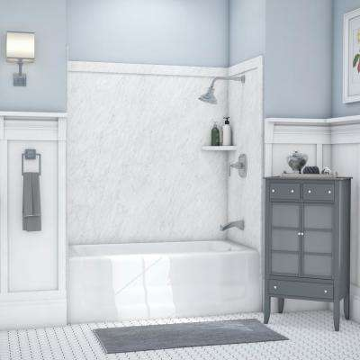 Elite 32 in. x 60 in. x 60 in. 9-Piece Easy Up Adhesive Tub Surround in Frost