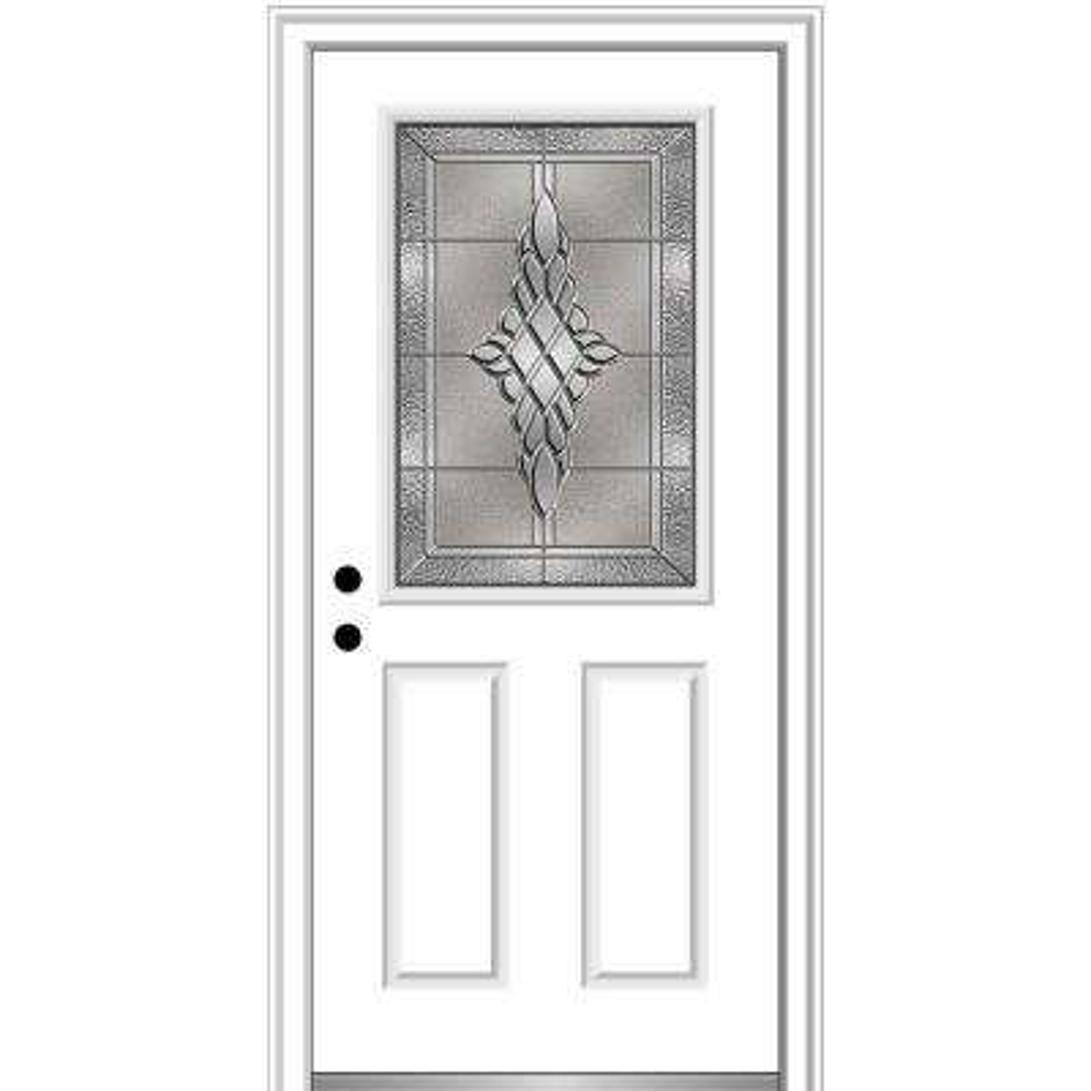 32 in. x 80 in. Grace Right-Hand Inswing 1/2-Lite Decorative 2-Panel Primed Steel Prehung Front Door, 4-9/16 in. Frame