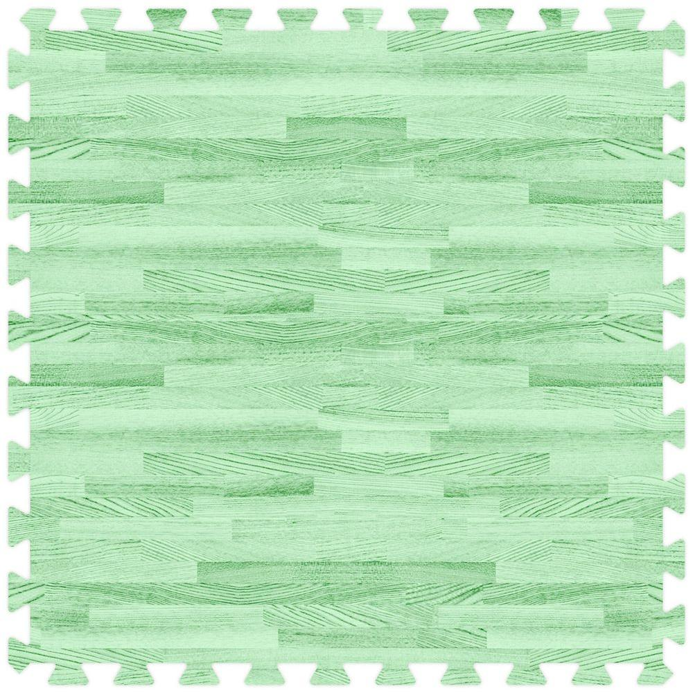 Groovy Mats Green 24 in. x 24 in. Comfortable Wood Grain Mat (100 sq.ft. / Case)
