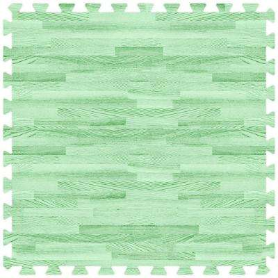 Green 24 in. x 24 in. Comfortable Wood Grain Mat (100 sq.ft. / Case)