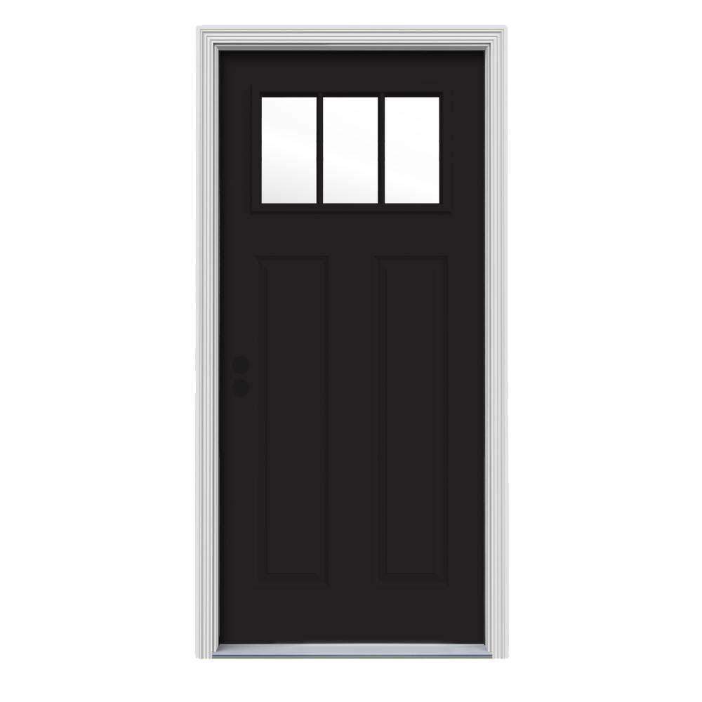 34 in. x 80 in. 3 Lite Craftsman Black w/ White Interior Steel Prehung Right-Hand Inswing Front Door w/Brickmould
