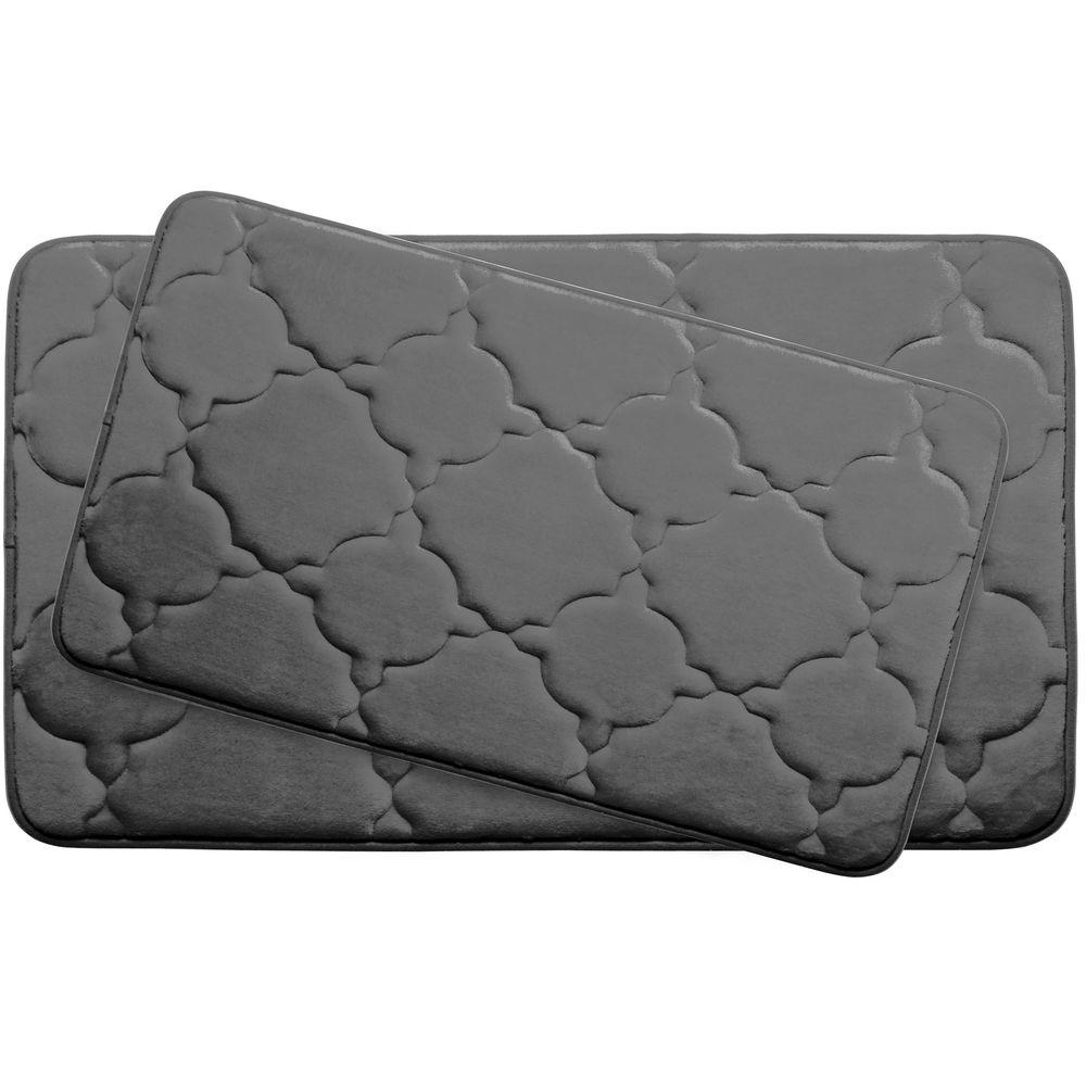 Bouncecomfort Dorothy Dark Gray Memory Foam 2 Piece Bath Mat Set