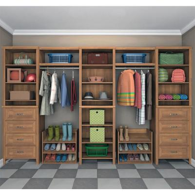 Impressions 14.57 in. D x 148 in. W x 83 in. H Walnut Mudroom Laminate Closet System (17-Piece)