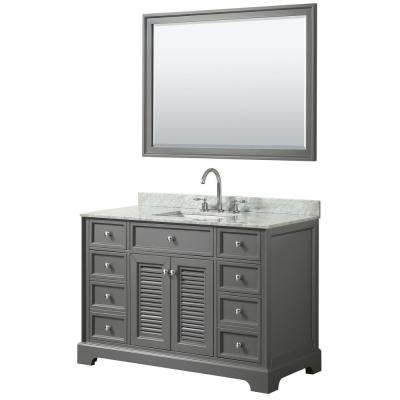 Tamara 48.5 in. Single Vanity in Dark Gray with Marble Vanity Top in White Carrara with White Basin and 46 in. Mirror
