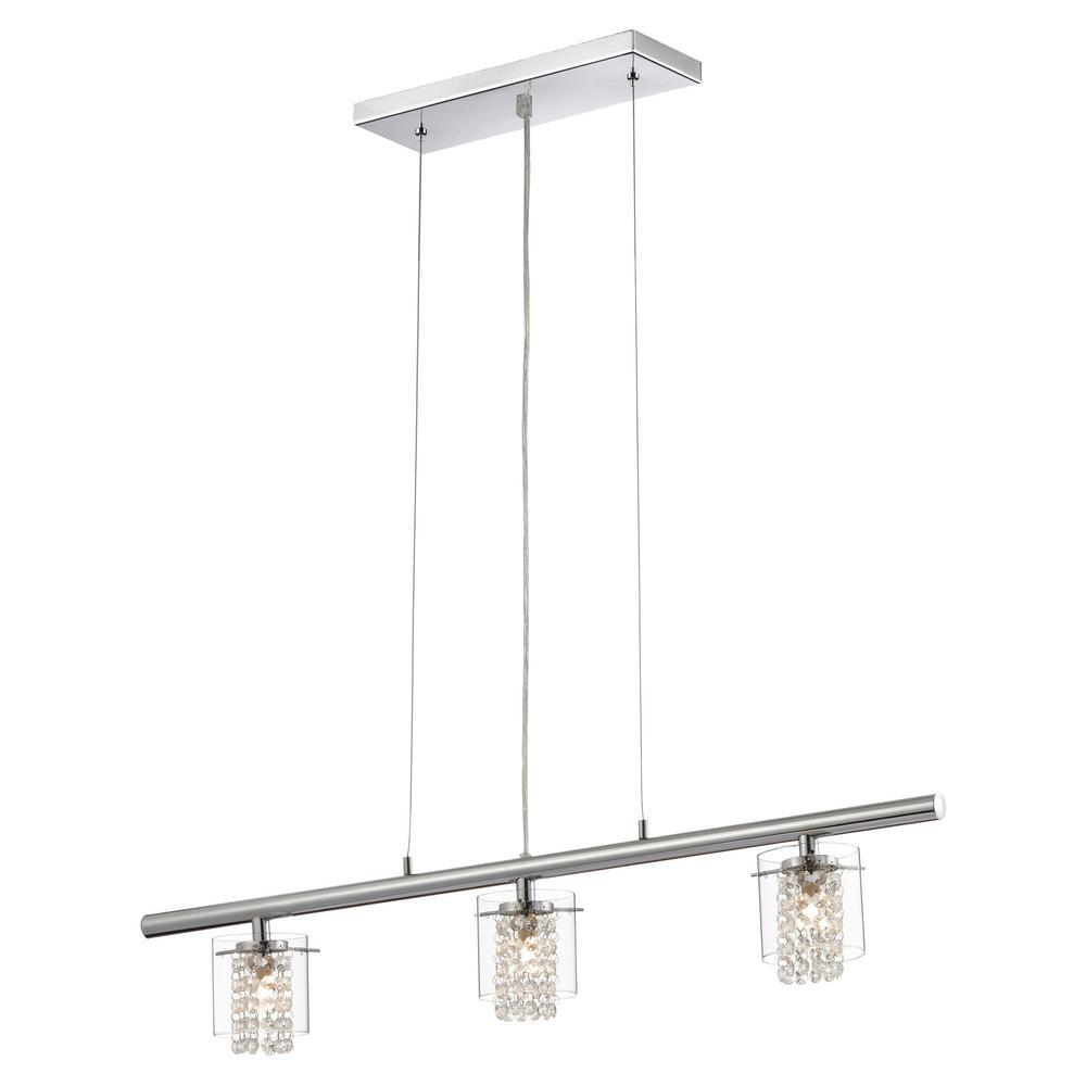 Glam-Topaz Collection 3-Light Chrome Hanging Pendant