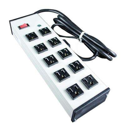 10-Outlet 15-Amp Compact Power Strip with Lighted On/Off Switch, 15 ft. Cord