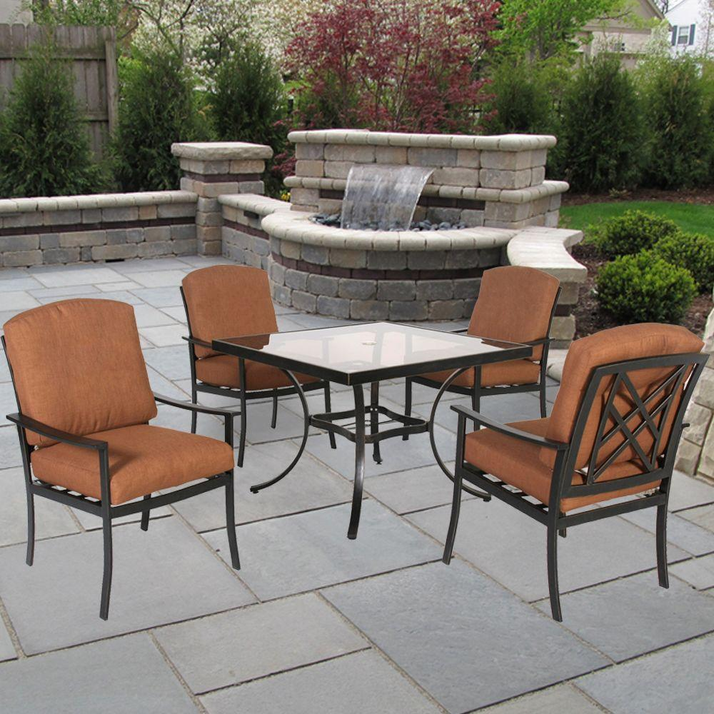 Hampton Bay Cedarvale 5-Piece Patio Dining Set with Nutmeg Cushions