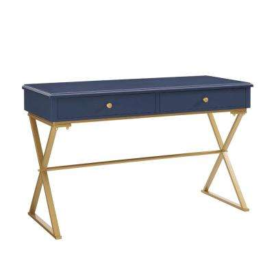 Campaign Blue and Writing Desk with Drawer