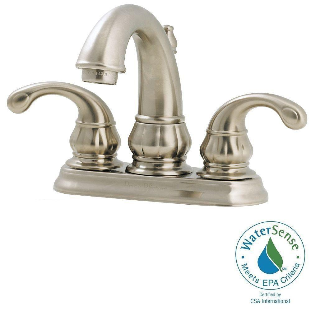 Pfister Treviso 4 in. Centerset 2-Handle High-Arc Bathroom Faucet in Brushed Nickel