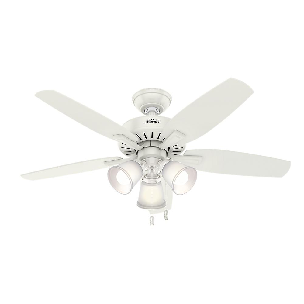 White Ceiling Lights: Hunter Oakfor 48 In. LED Indoor Fresh White Ceiling Fan