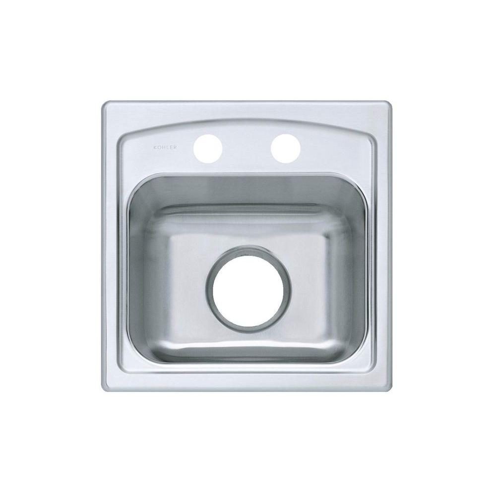 kohler toccata drop in stainless steel 15 in  2 hole single bowl kitchen sink k 3349 2 na   the home depot kohler toccata drop in stainless steel 15 in  2 hole single bowl      rh   homedepot com