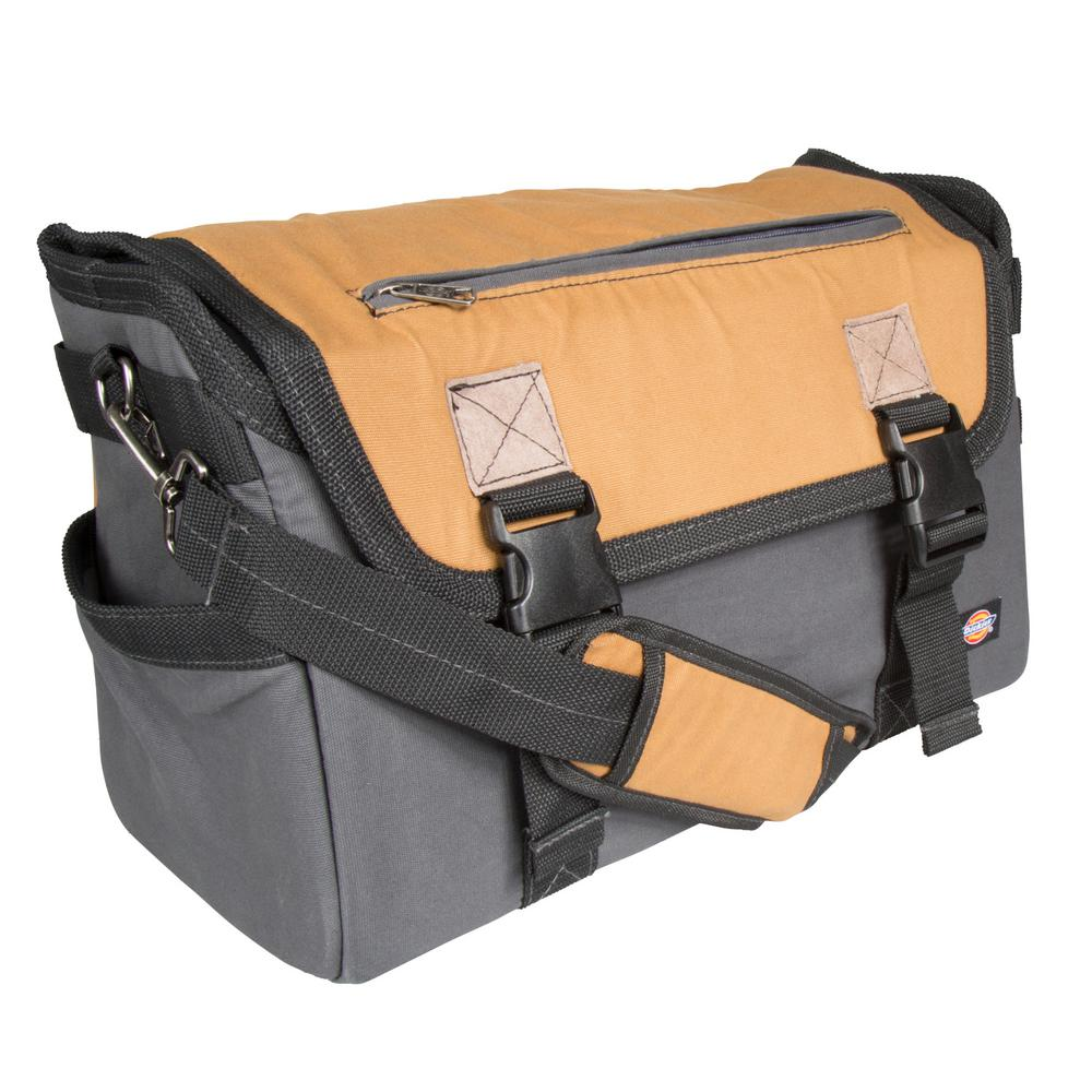16 in. Soft Sided Job Foreman's Tool Case Messenger Bag, Grey/Tan