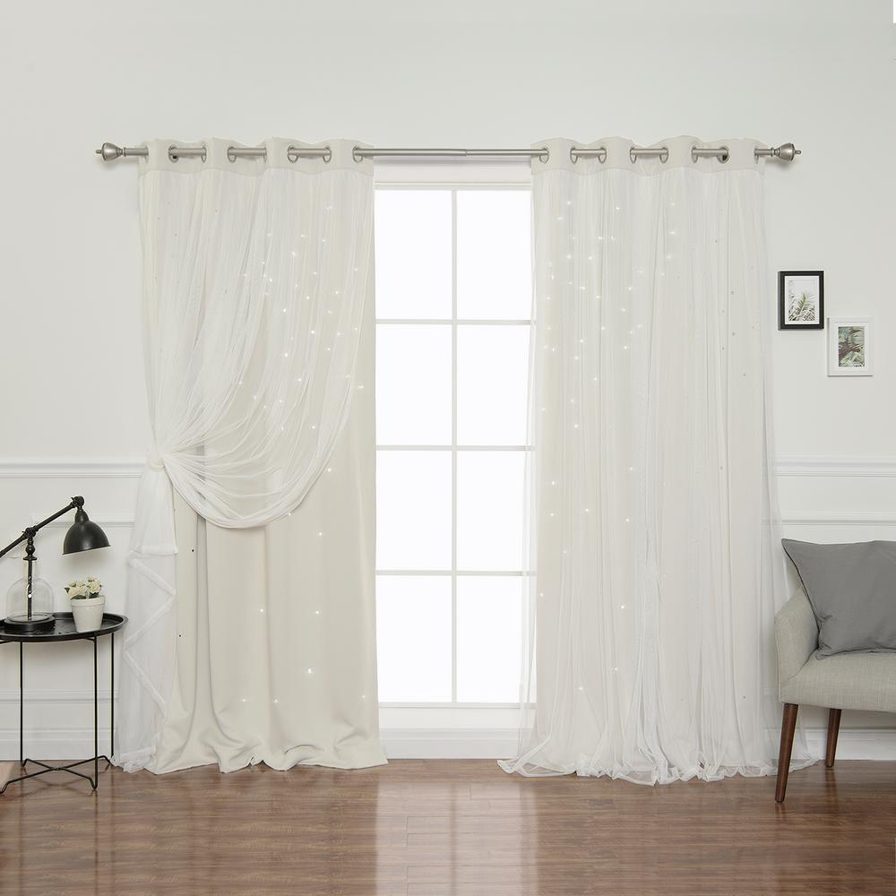 Best Home Fashion 84 In. L Biscuit Tulle Overlay Star Cut Out Blackout  Curtain Panel