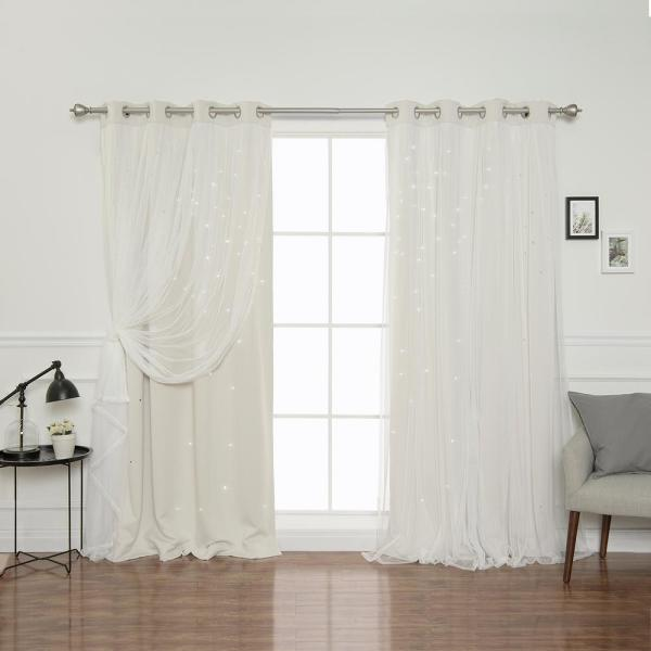 84 in. L Ivory Tulle Overlay Star Cut Out Blackout Curtain Panel  (2-Pack)