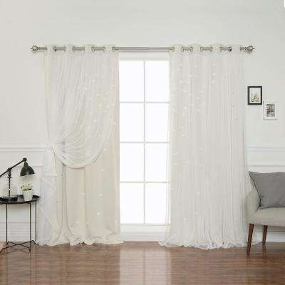 52 in. W x 84 in. L Tulle Overlay Star Cut Out Blackout Curtain Panel in Ivory (2-Pack)
