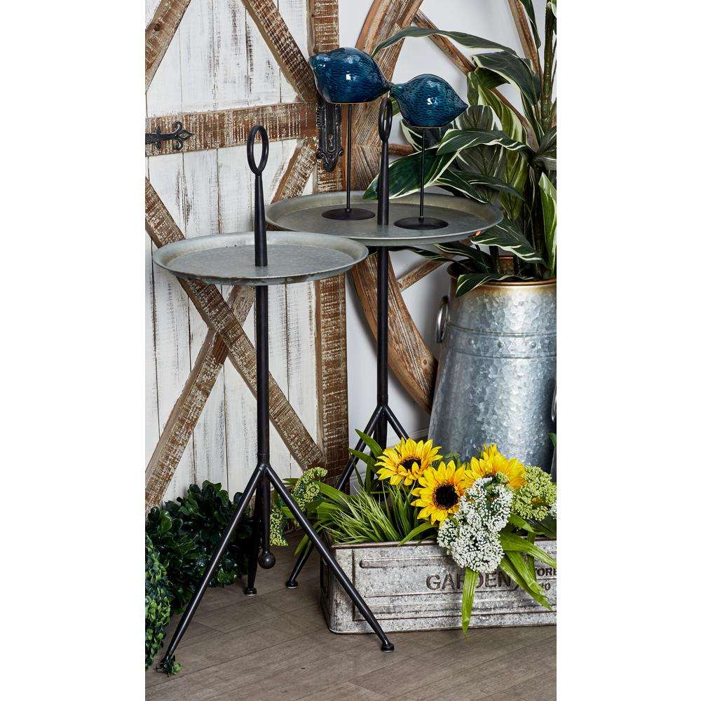 Gray Accent Table with a Pedestal Tray Stand Design