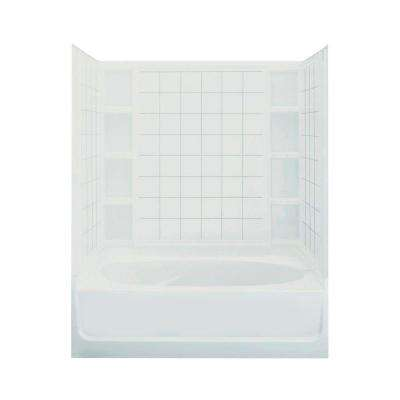 Ensemble 60 in. x 42 in. x 74-1/4 in. Standard Fit Bath and Shower Kit in White