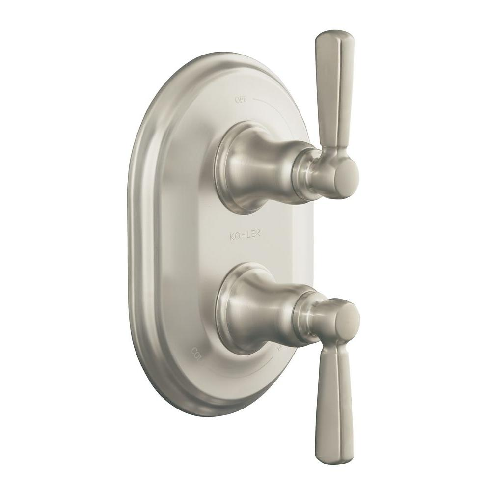 Bancroft 2-Handle Thermostatic Valve Trim Kit in Vibrant Brushed Nickel (Valve
