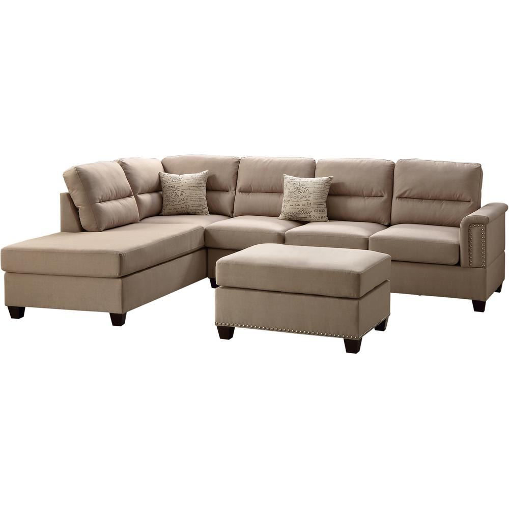 Venetian Worldwide Naples 3 Piece Sand Sectional Sofa With Ottoman
