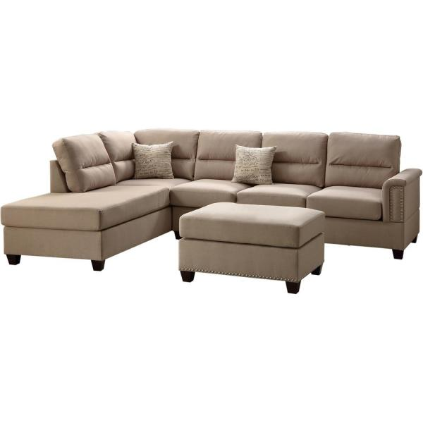 Naples Sand Fabric 6-Seater L-Shaped Sectional Sofa with Ottoman
