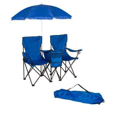 Blue Double Folding Camp and Beach Chair with Removable Umbrella and Cooler