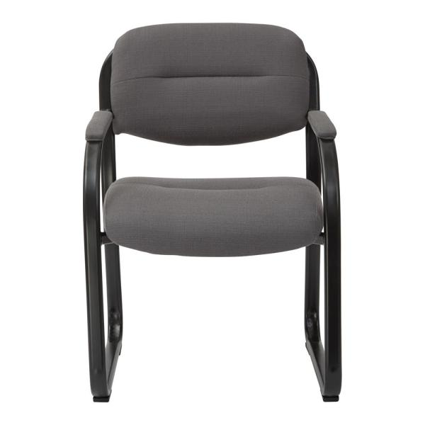 Deluxe Charcoal Fabric Visitors Chair with Heavy Duty Metal Sled Base and Padded Arms