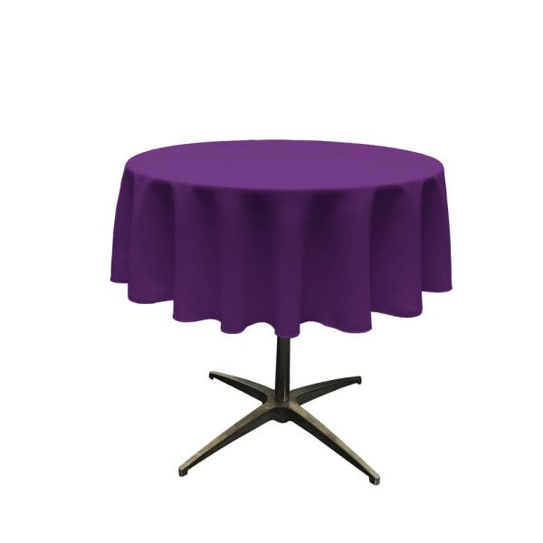 51 in. Round Purple Polyester Poplin Tablecloth