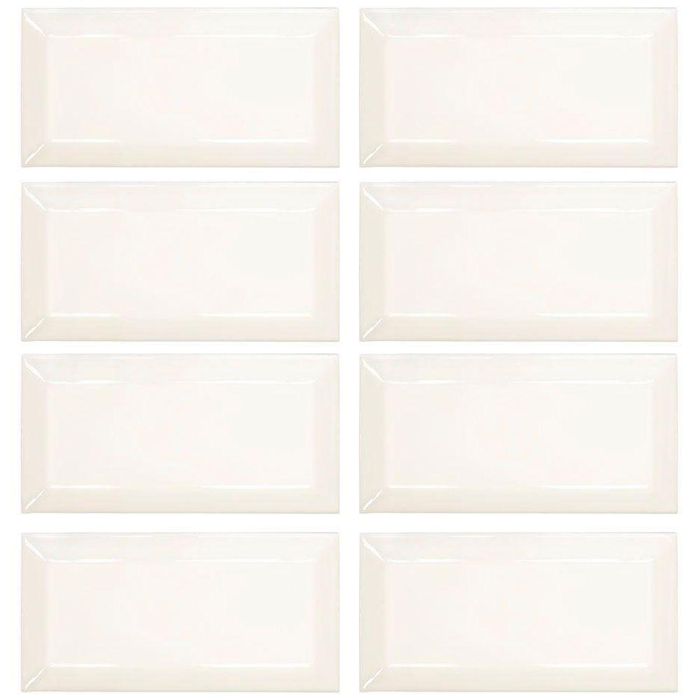 Jeffrey Court Royal Cream 3 In X 6 Glossy Beveled Ceramic Wall Tile 1 Sq Ft Pack