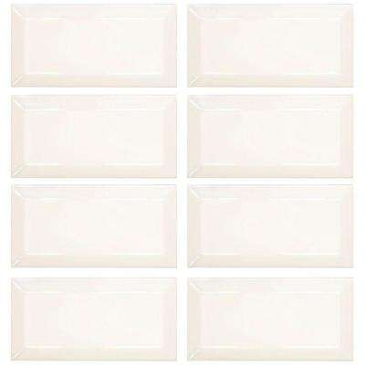 Royal Cream 3 in. x 6 in. Glossy Beveled Ceramic Wall Tile (1 sq. ft. / pack)