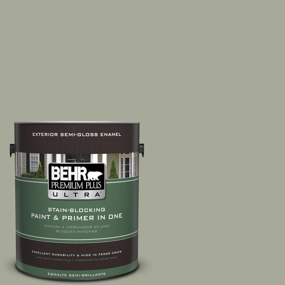 BEHR Premium Plus Ultra 1-gal. #PPU10-16 Simply Sage Semi-Gloss Enamel Exterior Paint