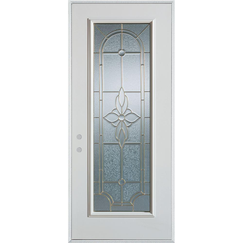 37.375 in. x 82.375 in. Traditional Brass Full Lite Prefinished White