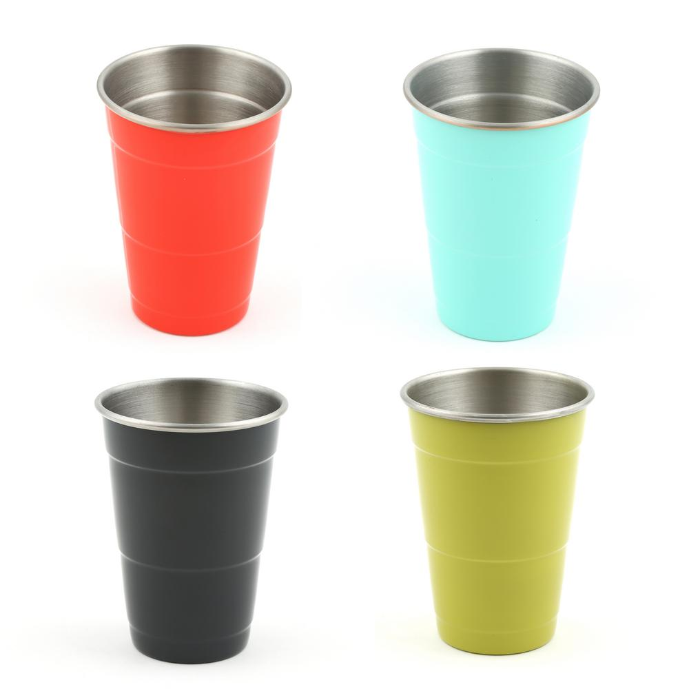 16 oz. Stainless Steel Poppy, Turquoise, Slate, and Lemongrass Everyday Cups