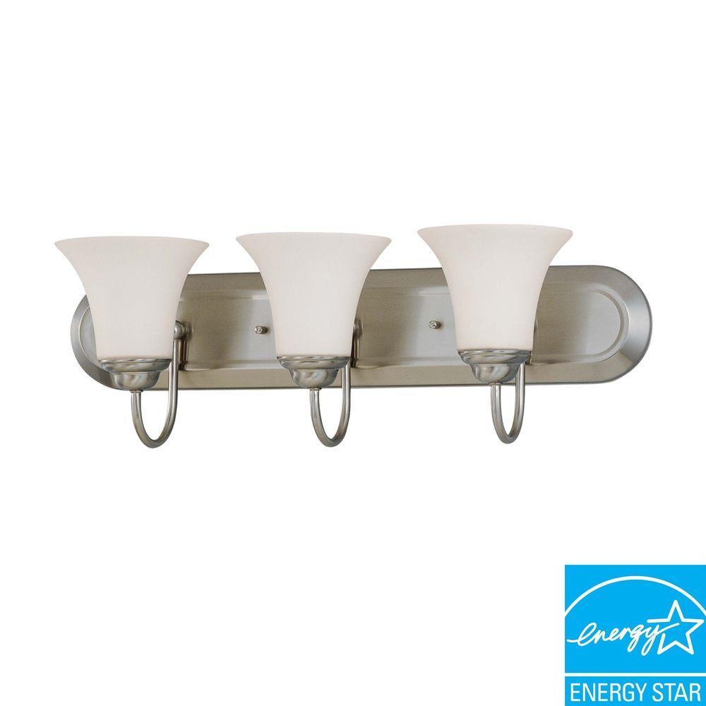 3-Light Brushed Nickel Bath Vanity Light