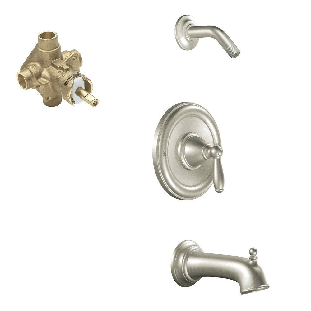 MOEN Brantford Single-Handle 1-Spray Posi-Temp Tub and Shower Faucet Trim Kit with Valve in Brushed Nickel (Valve Included)