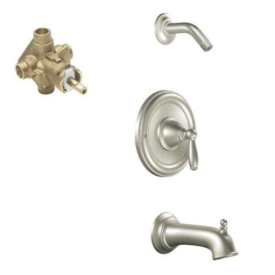 Brantford Single-Handle 1-Spray Posi-Temp Tub and Shower Faucet Trim Kit in Brushed Nickel (Valve Included)