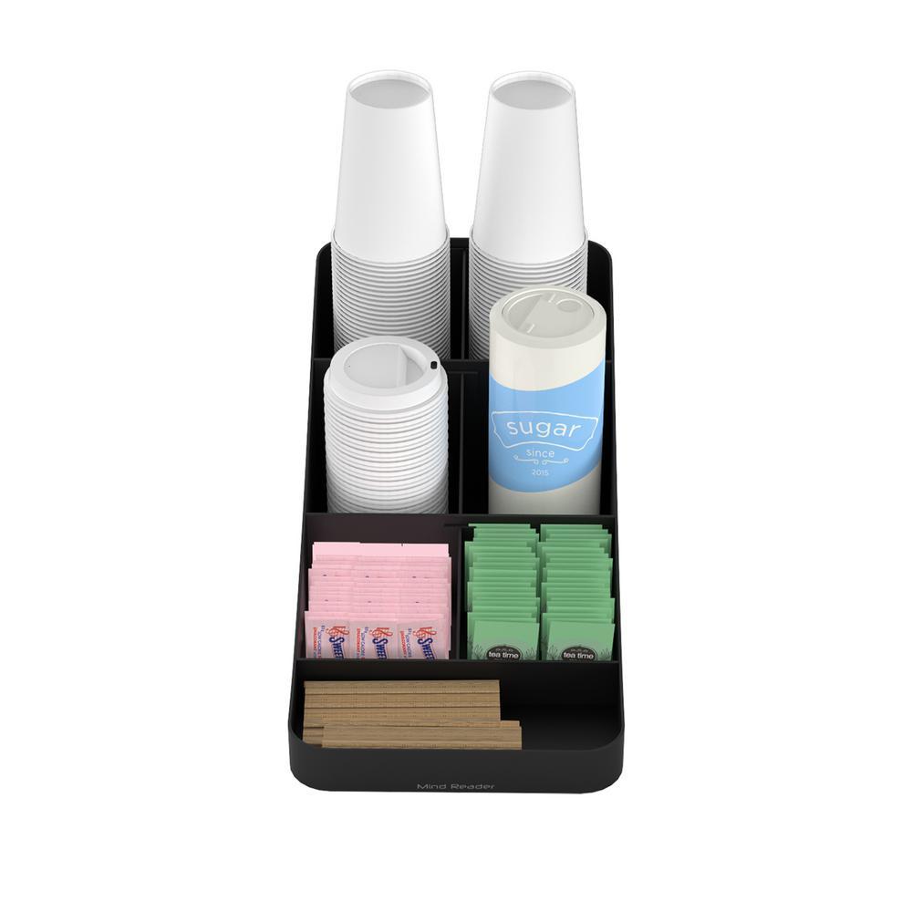 Trove 7 Compartment Coffee Condiment Organizer in Black
