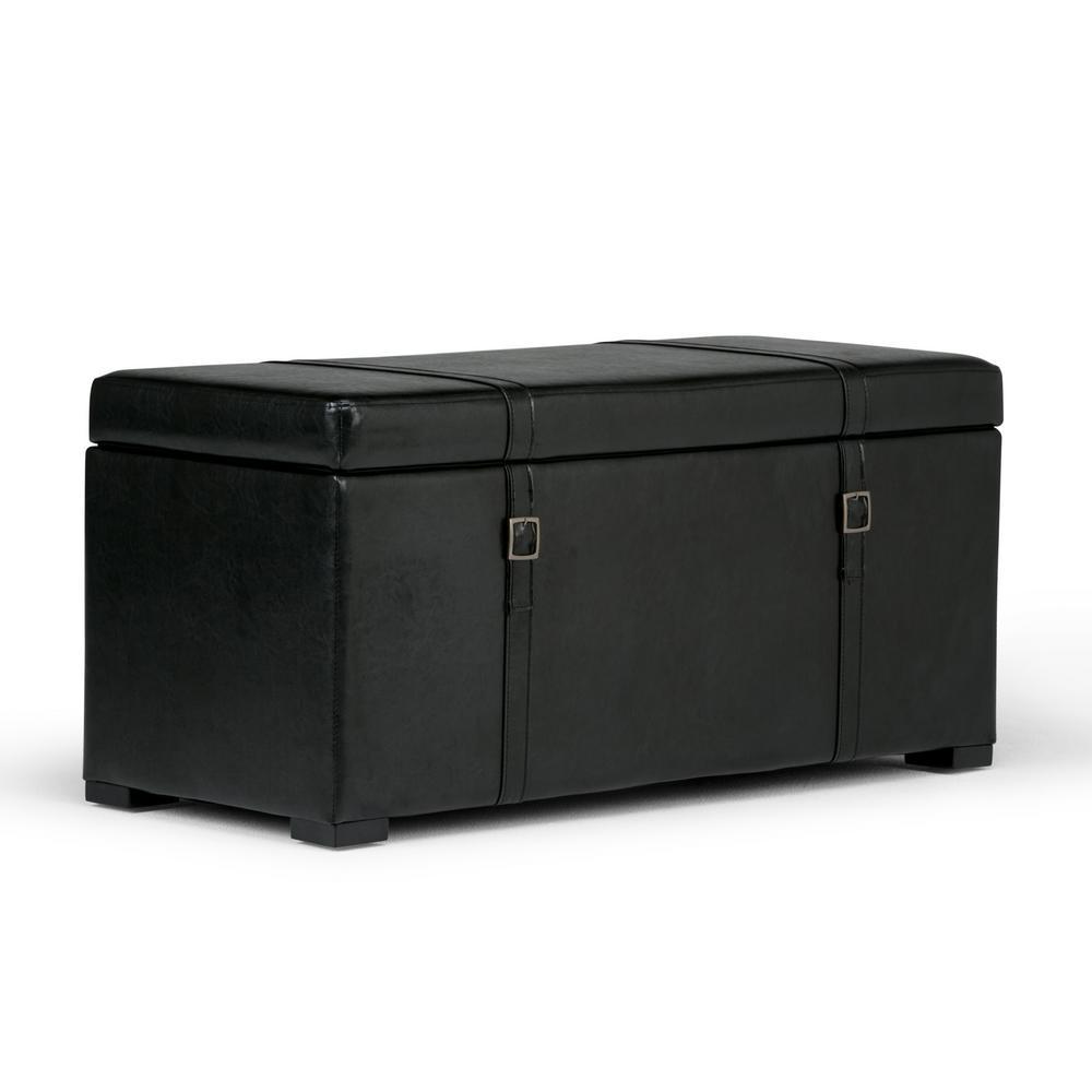 Dorchester Midnight Black 5 Piece Storage Ottoman Bench