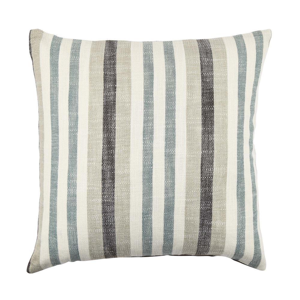 Vesper Lane Blue Distressed Striped Throw Pillow