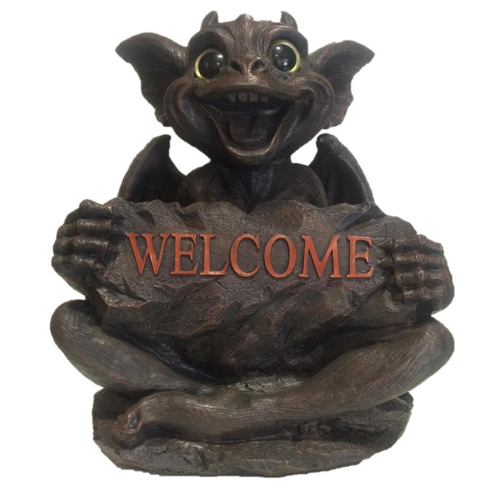 Big Sister Natasha Gargoyle With Gold Eyes Holding Welcome Sign Home And