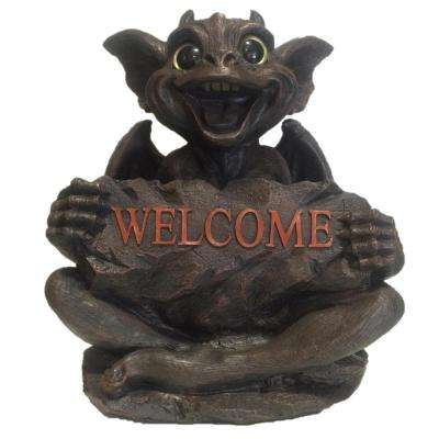 13 in. Big Sister Natasha Gargoyle with Gold Eyes Holding Welcome Sign Home and Garden Statue