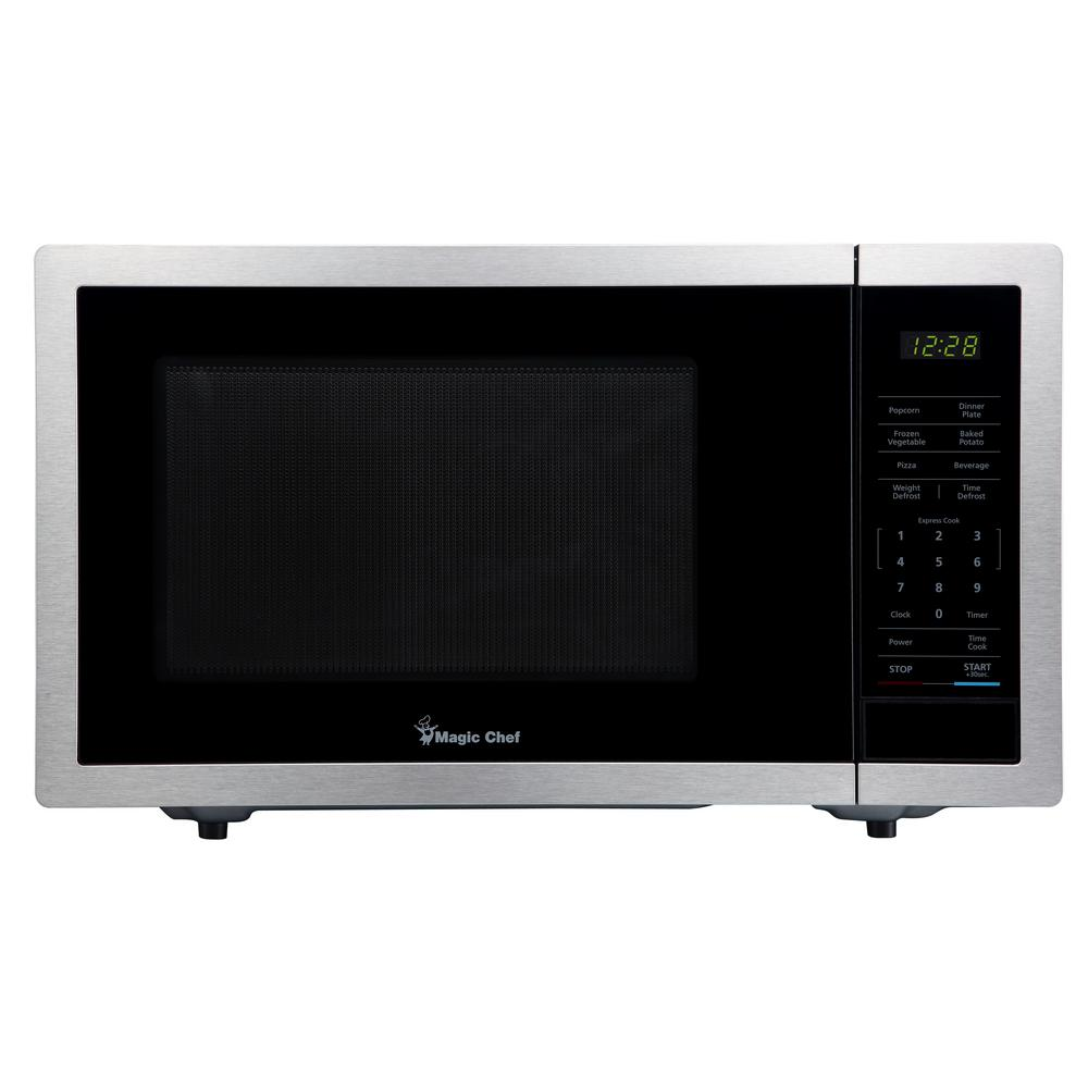 Magic Chef 0.9 cu. ft. Countertop Microwave in Stainless Steel with Gray Cavity