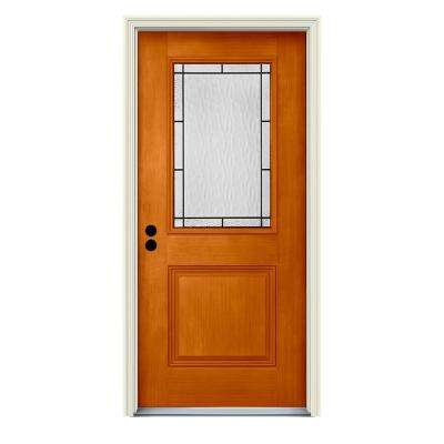 36 in. x 80 in. Right-Hand 1/2-Lite Wendover Saffron Stained Fiberglass Prehung Front Door with Brickmould