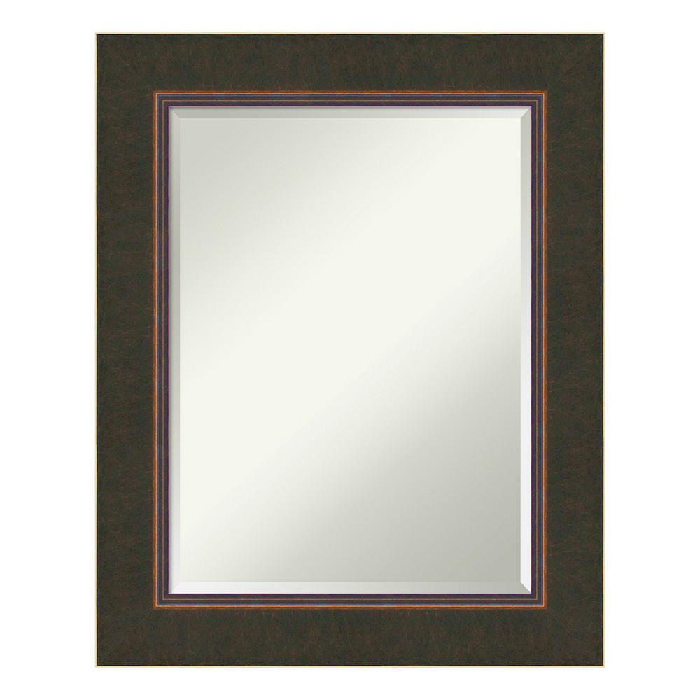 Milano Bronze Wood 25 in. x 31 in. Contemporary Bathroom Vanity Mirror