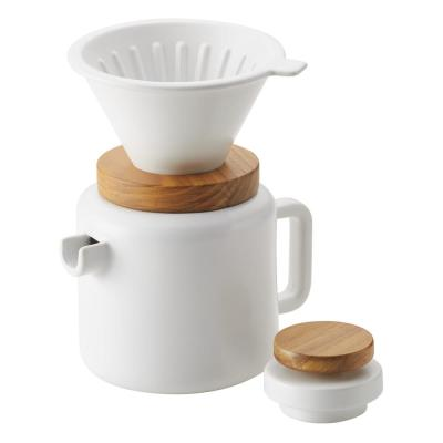 4-Cup Matte White Pour-Over Coffee Set